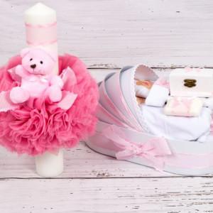 Set trusou botez ursulet si lumanare roz cu buline