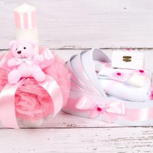 Set trusou botez si lumanare roz