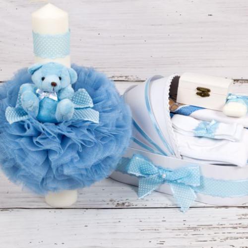 Set trusou botez si lumanare bleu cu buline