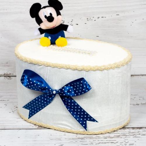 Cutie de dar botez Mickey Mouse cu fundita albastra si buline albe
