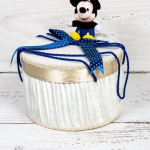 Cutie trusou botez Mickey Mouse cu decor albastru si buline