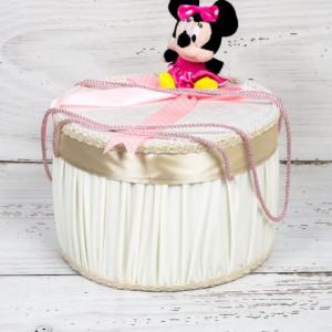 Cutie trusou botez Minnie Mouse cu fundita roz si buline albe