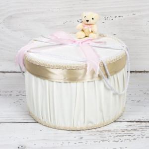 Cutie trusou botez ursulet si funda roz cu buline