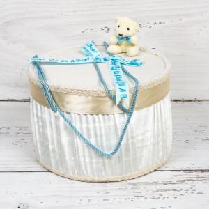 Cutie trusou botez ursulet plus si funda bleu It s a boy