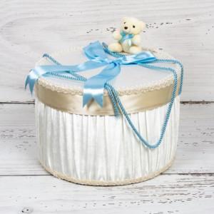 Cutie trusou botez ursulet plus si funda bleu