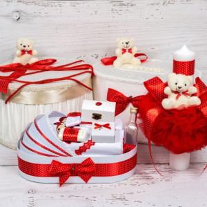 Set cutie de dar, cutie hainute, trusou si lumanare botez decor rosu si ursuleti