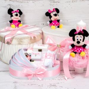 Set cutie de dar, cutie hainute, trusou si lumanare botez Minnie Mouse