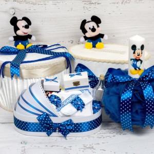 Set cutie de dar, cutie hainute, trusou si lumanare botez Mickey Mouse