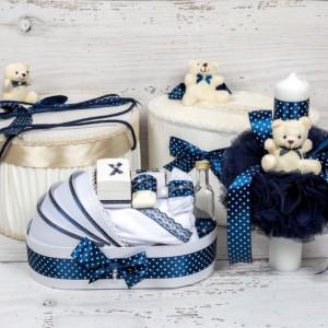 Set cutie de dar, cutie hainute, trusou si lumanare botez decor bleumarin cu buline si ursuleti