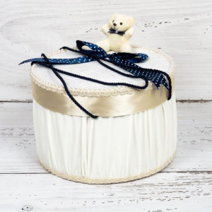 Cutie trusou botez ursulet si funda bleumarin cu buline