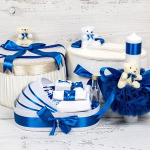 Set cutie de dar, cutie hainute, trusou si lumanare botez decor albastru si ursuleti