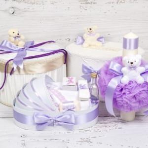 Set cutie de dar, cutie hainute, trusou si lumanare botez decor lila si ursuleti