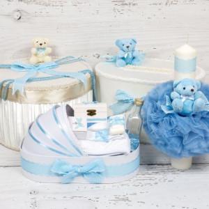 Set cutie de dar, cutie hainute, trusou si lumanare botez bleu cu buline si ursuleti