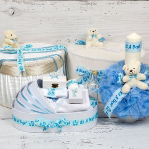 Set cutie de dar, cutie hainute, trusou si lumanare botez bleu It s a boy