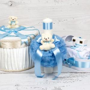 Set botez cutie hainute, lumanare biserica si trusou decor bleu cu carucior