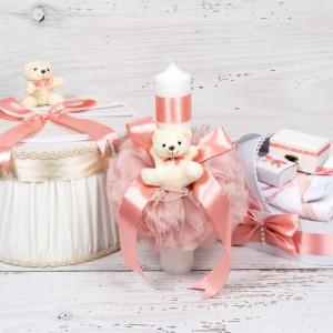 Set botez cutie hainute, lumanare biserica si trusou decor roz prafuit