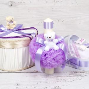 Set botez cutie hainute, lumanare biserica si trusou decor lila