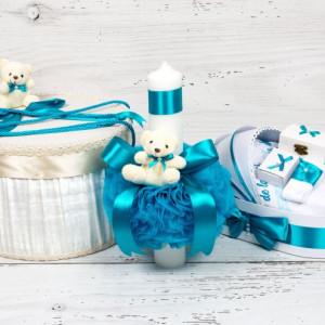 Set cutie de dar, cutie hainute, trusou si lumanare botez decor turcoaz