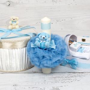 Set botez cutie hainute, lumanare biserica si trusou decor bleu si buline albe