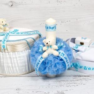 Set botez cutie hainute, lumanare biserica si trusou decor bleu It s a boy