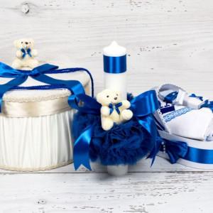Set botez cutie hainute, lumanare biserica si trusou decor albastru