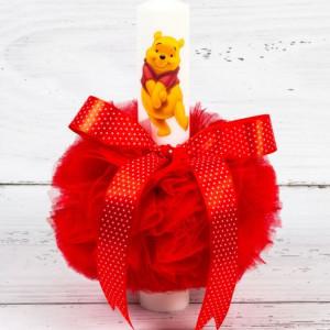 Lumanare botez Winnie The Pooh cu decor rosu