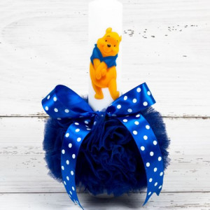 Lumanare botez Winnie The Pooh cu decor albastru