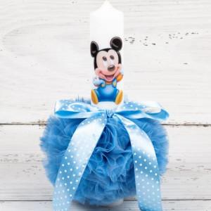 Lumanare botez baby Mickey Mouse si decor bleu cu buline