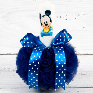 Lumanare botez Baby Mickey Mouse si decor albastru cu buline