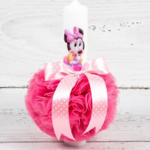 Lumanare botez baby Minnie Mouse cu decor roz