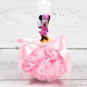 Lumanare botez Minnie Mouse cu decor roz cu buline