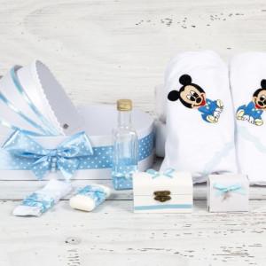 Trusou botez in landou Baby Mickey Mouse cu decor bleu si buline