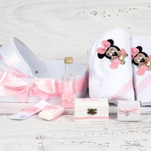 Trusou botez in landou Baby Minnie Mouse cu decor roz si buline