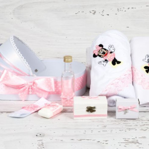 Trusou botez in landou Minnie Mouse cu decor roz si buline