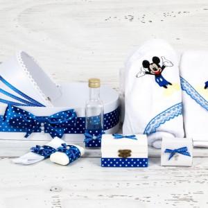 Trusou botez in landou Mickey Mouse decor albastru si buline