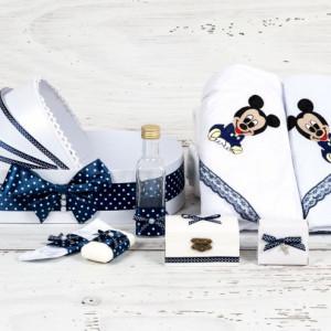 Trusou botez in landou Baby Mickey Mouse cu decor bleumarin si buline
