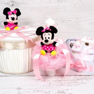 Set botez cutie hainute, trusou si lumanare biserica Minnie Mouse