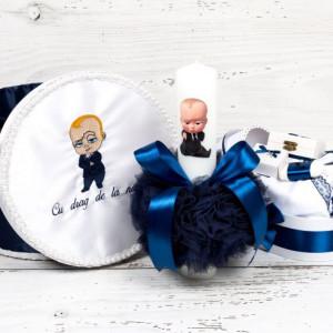 Set botez Baby Boss cutie hainute, lumanare si trusou biserica decor bleumarin