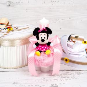 Set botez fetite cutie hainute, lumanare Minnie Mouse si trusou traditional