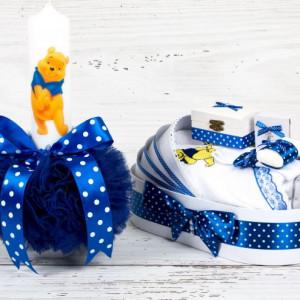 Set botez lumanare Winnie The Pooh si trusou biserica cu decor albastru si buline