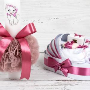 Set botez lumanare roz prafuit si trusou Pisica Aristocrata Marie