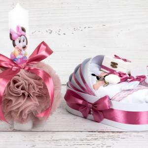 Set botez lumanare roz prafuit si trusou Baby Minnie Mouse
