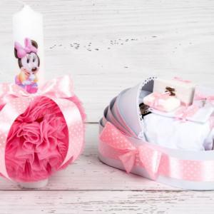 Set botez lumanare roz cu buline si trusou Baby Minnie Mouse