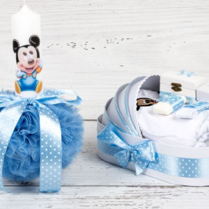 Set botez Baby Mickey Mouse lumanare si trusou biserica decor bleu cu buline