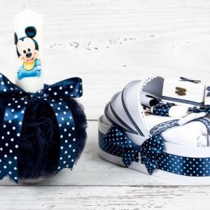 Set botez Baby Mickey Mouse lumanare si trusou biserica decor bleumarin cu buline