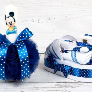 Set botez Baby Mickey Mouse lumanare si trusou biserica decor albastru cu buline