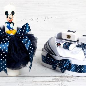 Set botez Mickey Mouse lumanare si trusou biserica cu model bleumarin si buline