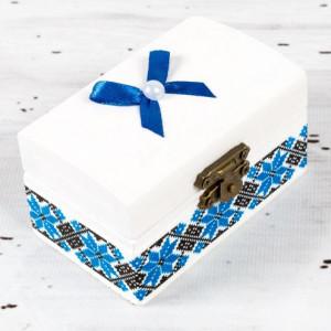 Cutiuta mot botez decor traditional si fundita albastra