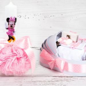Set botez lumanare roz cu buline si trusou Minnie Mouse