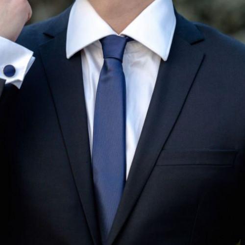Set bleumarin cravata slim si butoni